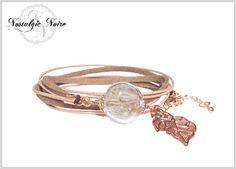 Wickelarmbänder - ♥ rosegold Pusteblume ♥ Wickelarmband leder natur - ein Designerstück von NostaIgicNoire bei DaWanda