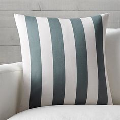 """Olin Ivory-Slate Grey Striped 20"""" Pillow with Feather-Down Insert 