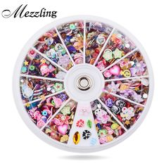 1.49$  Buy now - http://alityl.shopchina.info/go.php?t=32471819017 - Mixed Fimo Resin Sequin Colorful Design Glitter Nail Art Tips Rhinestone Slice Decoration Manicure Nail Wheel Tools 1.49$ #buymethat