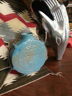 Vintage Thunderbird Canteen by Frankoma; this is a turquoise glaze over Ada clay, ca. 1951-54.