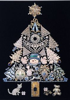 This exquisite Christmas Winter Wonderland Tree is made with all vintage and costume jewelry. It is in a new White frame that can be either hung or displayed in an easel. It measures approx. 12.5x15.5 with an opening of approx. 9.5x13. Framed on a rich black velvet background.