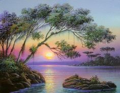 visual result of horst schnepper - Painting Beautiful Paintings, Beautiful Landscapes, Landscape Art, Landscape Paintings, Modern Paintings, Bob Ross Paintings, Image Nature, Tropical Art, Seascape Paintings