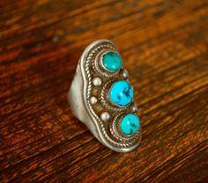 Tibetan Turquoise Saddle Ring