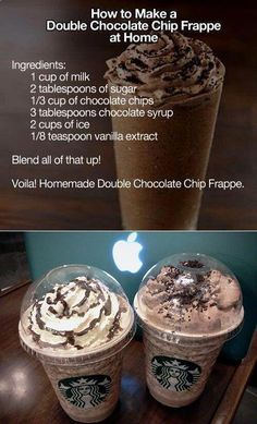 Double whammy with double chocolate chip frappe recipe! double whammy chocolate chip frappe recipe yummy is part of Starbucks drinks recipes - Bebidas Do Starbucks, Starbucks Drinks Coffee, Iced Mocha Coffee, Frozen Coffee Drinks, Starbucks Food, How To Order Starbucks, Coffee Coffee, Appetizer Sandwiches, Veg Appetizers
