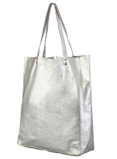 Silver Leather Maya Tote Bag