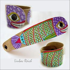 Hand Painted Leather Cuff. Leather Bracelet Fish. $35.00, via Etsy.