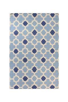 Wainscott Wool Rug - Light Blue/Navy Blue/Cream