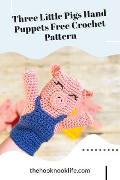Make these fun hand puppets using the free crochet pattern on The Hook Nook Life Blog! Great for story time and homeschool for kids! Crochet Pig, Crochet For Kids, Crochet Animals, Crochet Hooks, Free Crochet, Diy Crochet Patterns, Crochet Patterns For Beginners, Crochet Ideas, Crochet Projects