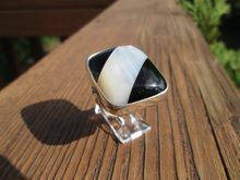 Sterling Black Onyx/Mother of Pearl Large Statement Ladies Ring