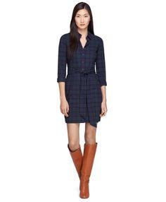 Long-Sleeve Cotton Black Watch Dress - Brooks Brothers