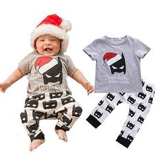 Baby Clothes Christmas Batman T-Shirt Top and Pant Bottom Summer Outfit Children Set Hot(China (Mainland)) Baby Batman, Batman T-shirt, Batman Baby Clothes, Baby Outfits, Kids Outfits, Newborn Christmas, Christmas Baby, Cute Newborn Baby Boy, Newborn Crochet