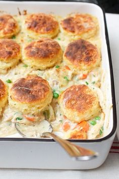 Chicken and Biscuits Pot Pie. Great recipe to use a rotisserie chicken in to speed it up!