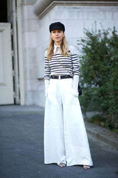 60 trends street-style approved: White wide leg trousers are perfect for summer giving your street style a breezy cool.