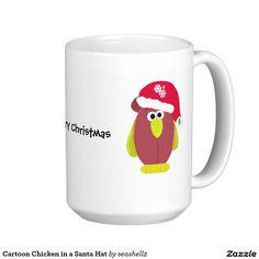 Cartoon Chicken in a Santa Hat Classic White Coffee Mug #christmas #funny #mug