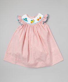 Look at this #zulilyfind! Orange Beach Scene Smocked Dress - Infant, Toddler & Girls #zulilyfinds