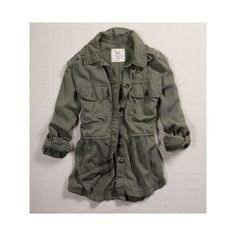 AE Women's Military Shirt Jacket (Olive) (XS) ($50) ❤ liked on Polyvore featuring outerwear, jackets, tops, american eagle, back to basics, shops, women, microfiber jacket, military button jacket and shirt jacket
