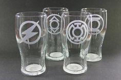 Custom Etched Beer Pints Pub Glasses Set of 4 by MonkeysJewels, $46.00