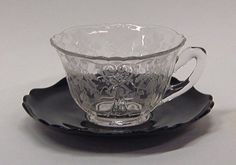 Cambridge Apple Blossom Etched Cup Black Saucer