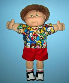 Cabbage Patch Kids  Doll Clothes Mario Short  Set by Dakocreations