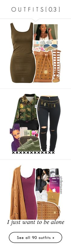 """O U T F I T S [ 0.3 ]"" by t-ayyy ❤ liked on Polyvore featuring mbyM, Escalier, Moschino, MAC Cosmetics, OPI, Barry M, Dogeared, NIKE, MCM and H&M"