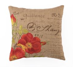Orange Rose - Embroidered Pillow  $54.99