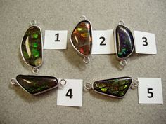 Canadian Ammolite Silver Connector Green Approx 10x20mm Boat Shape One of a Kind by Energy Stone (sku#225)