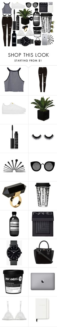 """""""Black and White and Succulents"""" by bbernie ❤ liked on Polyvore featuring River Island, adidas Originals, NARS Cosmetics, Quay, Monki, Dot & Bo, Aesop, The Horse, Curriculum Vitae and Kate Spade"""