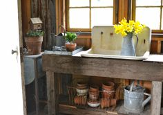 Faded Charm: ~Spring has Sprung in the Garden House~look for old sink for garden shed
