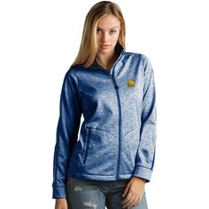 Women's Antigua Golden State Warriors Golf Jacket ($110) ❤ liked on Polyvore featuring dark blue, pocket jacket, blue jackets, golden jacket, zip front jacket and long sleeve jacket