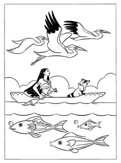 Pocahontas Up Boat With Meeko Coloring Pages