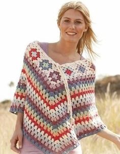 Free Pattern - #Crochet DROPS poncho with granny squares