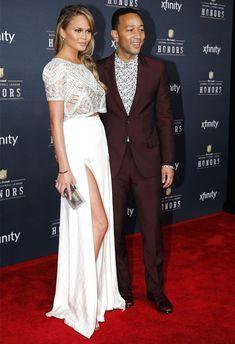 Look de Chrissy Teigen + John Legend no red carpet.