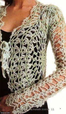 not in English - has diagram pattern Crochet Coat, Crochet Shirt, Crochet Jacket, Crochet Cardigan, Crochet Clothes, Crochet Sweaters, Lace Cardigan, Moda Crochet, Crochet Stitches