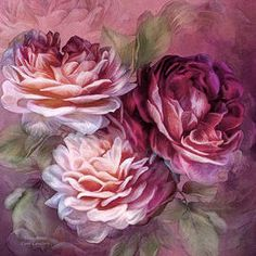 Art by Carol Cavalaris | Carol Cavalaris - Three Roses - Burgundy