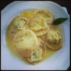 Homemade Courgette ravioli with sage butter #italy #food #cooking