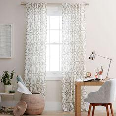 Pinwheel Linen Window Panel - Stone White / Slate   west elm