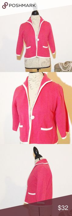 Lilly Pulitzer 3/4 sleeve cropped Cardigan Excellent condition, like new.  100% cotton.  Two small front pockets and the pink is given a 'pop' with contrasting white trim and Button.  Very classy.  See photos for measurements.  Smoke and pet free home! Lilly Pulitzer Sweaters Cardigans