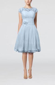 Cinderella Scalloped Edge Short Sleeve Chiffon Knee Length Lace Dress
