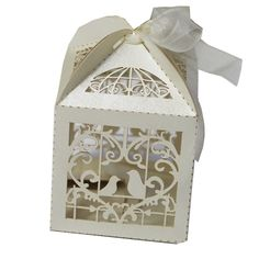 50 Pack White Love Birds Laser Cut Favor Candy Box Bomboniere with Ribbons Bridal Shower Wedding Party Favors >>> Want additional info? Click on the image.