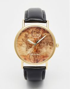 Image 1 of Reclaimed Vintage Map Print Watch In Black