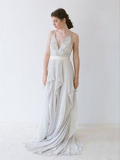 Smoke grey, hand-beaded, chiffon wedding dress.