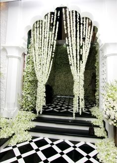 Tent and backgound walls made of delicate white flowers