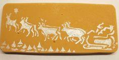 Santa Sleigh Vanilla Fudge Bar 220g. Stencil design drawn and hand cut by me!