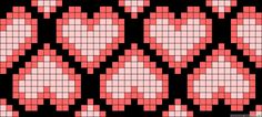 Chained hearts perler bead pattern as quilt inspiration. Cross Stitch Bookmarks, Cross Stitch Heart, Beaded Cross Stitch, Cross Stitch Embroidery, Tapestry Crochet Patterns, Bead Loom Patterns, Beading Patterns, Knitting Charts, Knitting Patterns