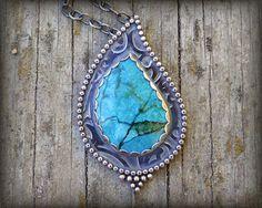 r e s e r v e d - Chrysocolla necklace. Sterling silver chrysocolla with malachite necklace. Intense bright blue & green gemstone pendant.