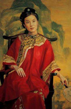 陈逸鸣油画作品:仕女系列-2 - 期待 2005年作 作品尺寸:116.8*86cm