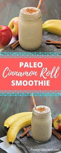 Paleo Cinnamon Roll Smoothie - PaleoCupboard.com #paleosmoothiesrecipes