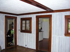Handy Man painted the inside of these wall nooks white to freshen them up. These nooks were the inspiration to the nooks he built into our living room Paint Over Wood Paneling, Wood Paneling Makeover, Wood Panneling, Wood Panel Walls, White Paneling, Painted Brick Fireplaces, Paint Fireplace, Wall Nook, Painted Rug