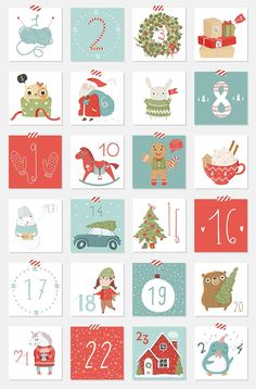 Wrapping Gifts 538039486730179419 - Let's celebrate!❄ by Artnis on Creative Market Source by sylviehalley Christmas Calendar, Christmas Countdown, Kids Christmas, Christmas Crafts, Xmas, Christmas Gift Tags Template, Christmas Greeting Cards, Christmas Printables, Advent Calenders