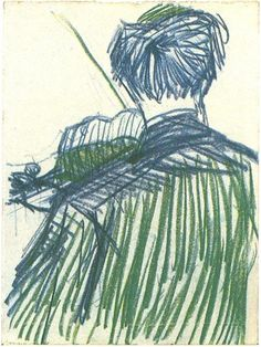Violinist Seen from the Back by Vincent Van Gogh Drawing, Blue and green chalk  Paris: January - April, 1887